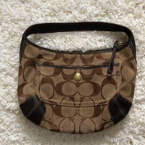 Tan COACH hobo handbag leather canvas purse